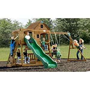 Adventure Playsets Patriot Ii Swing Set with 2-level Playdeck