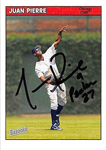 Juan Pierre autographed baseball card (Chicago Cubs) 2006 Topps Bazooka #123 - Baseball Slabbed Autographed Cards