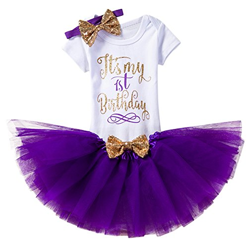 Baby Girl Its My 1st/2nd Birthday Cake Smash 3/4Pcs Shinny Sequin Bow Romper+Tutu Skirt+Headband+Leg Warmer Outfit, 3pcs 1st Birthday Purple (1 Year), One Size (Birthday Wishes For Baby Girl 1st Birthday)