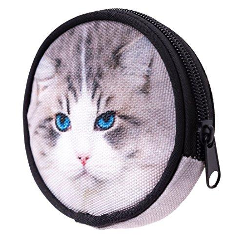 Geldbeutel Runde Geldbörse mit Reißverschluss Taschenorganizer Münzbörse Grey Cat [041]