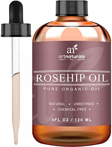 Art Naturals Rosehip Seed Oil 3 Piece Set - Pure Virgin, Cold Pressed & Unrefined 4oz - Best Natural moisturizer to heal Dry Skin, Fine Lines & Scars