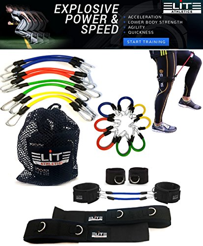11 Piece Kinetic Speed Agility Training Strength Leg Resistance Fitness Exercise Bands, complete set for Soccer Kick Boxing Basketball Football all Sports Training, Official Elite Athletic Bands – DiZiSports Store