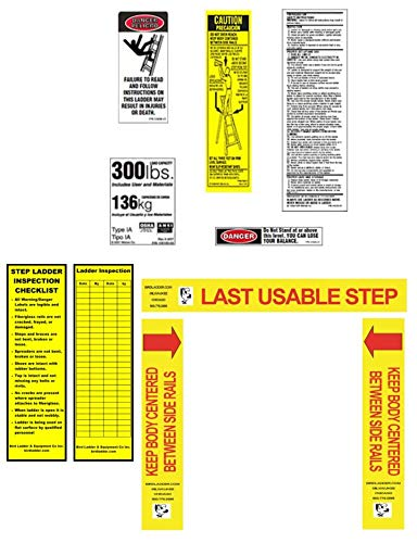 300 lb. 1A Step Ladder Safety Label w/Inspection Tag Package (Pack of 6)