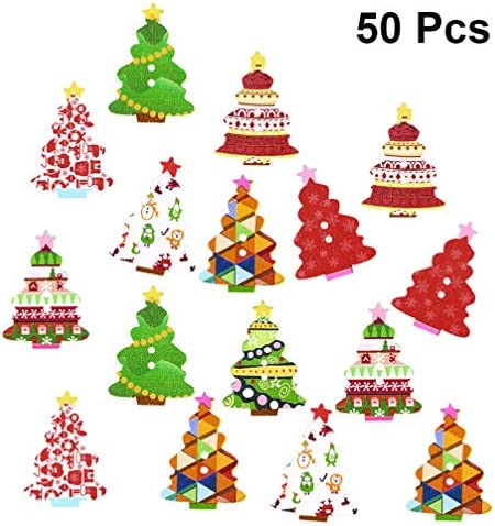 Amosfun 50Pcs 2-hole Christmas Wooden Buttons Xmas Buttons Colorful Tree Buttons For Sewing Crafting (Random Pattern)