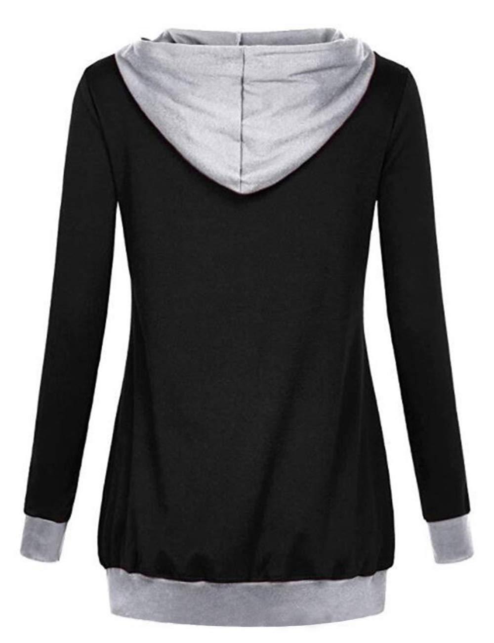 Poplover Womens V Neck Splice Hoodies Long Sleeve Pullover Casual Sweatshirt Black Medium