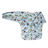 Ecoable Art Smock for Kids - Long Sleeve Bib or Paint Smock for Kids (Large 4-6 Years, Airplane)
