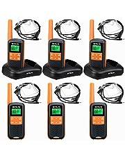 Retevis RT649 Walkie Talkie, PMR446 Licentievrij 16 Kanalen, VOX SCAN, LED-Zaklamp, IP65 Waterdicht, Twee Oplaadmethoden, Walkietalkie met Headset (Oranje, 6 Stuks)