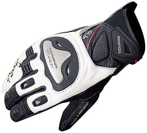 Komine GK-170 titanium sports glove Black / White L 06-170