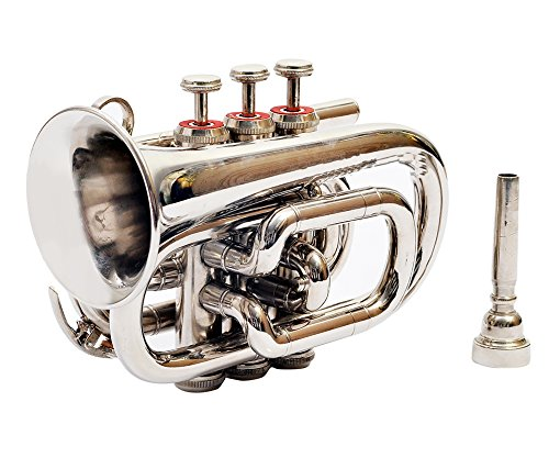 POCKET TRUMPET Bb PITCH NICKEL SILVER WITH FREE HARD CASE AND MP by NASIR ALI