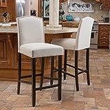 Christopher Knight Home 295973 Auburn Ivory Fabric Backed Barstool (Set of 2)