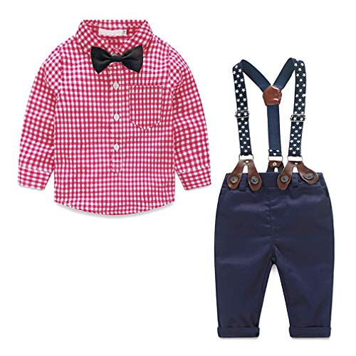AmzBarley Toddler Boys Suits Plaid Shirts and Suspender Pants Sets Tuxedo Wedding Outfit Suits Birthday Party Gentleman Clothing Red Size 2-3 ()