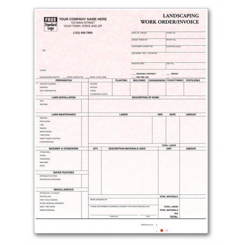 Professional Invoices - Laser Landscaping Invoices by PrintEZ