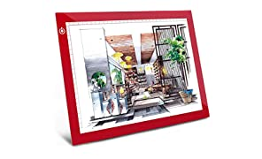 A4 Dimmable Brightness LED Artcraft Light Box Tracer Slim Light Pad Portable Tablet, ME456 USB Power Cable Copy Drawing Board Tracing Table for Artists Designing, Animation, Sketching (Red)