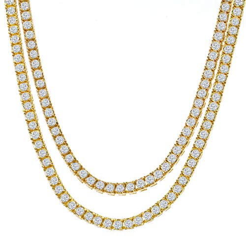 Pyramid Jewelers Mens Iced Out Hip Hop Gold Tone CZ Miami Cuban Link Chain Choker Necklace (1 Row CZ Chain Set 20