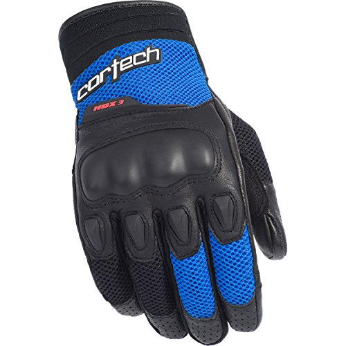 Street Bike Motorcycle Gloves (Cortech HDX 3 Adult Street Bike Motorcycle Gloves - Black/Blue / Large)