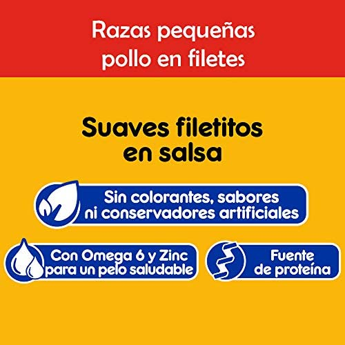 PEDIGREE alimento húmedo para Perros Adultos de Razas Pequeñas. Sabor: Pollo en Filetes. Contiene 10 Sobres 5