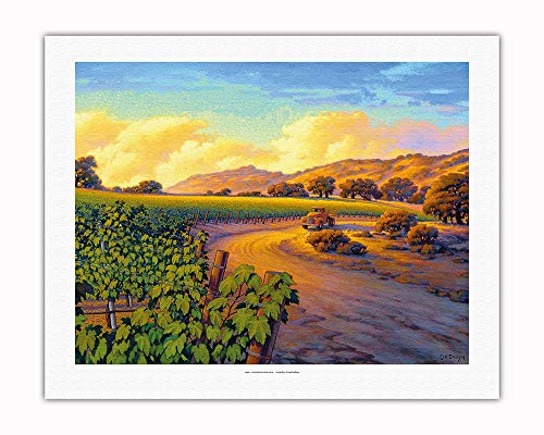 Pacifica Island Art - Vineyard Sunset - Wine Country Art by Kerne Erickson - Fine Art Rolled Canvas Print - 20in x 26in by Pacifica Island Art (Image #1)