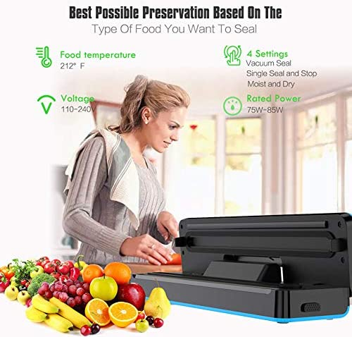 Food Vacuum Sealer Saver Automatic Packing Sealing Machine for Dry and Moist Food Fresh Preservation with 10PCS BPA Seal Bags for Meat, Vegetables, Fruits