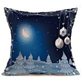 Merry Christmas Pgojuni Linen Pillowcase Decoration Accent Throw Pillow Cover Cushion Cover for Couch/Sofa 1pc 45X45 cm (G)