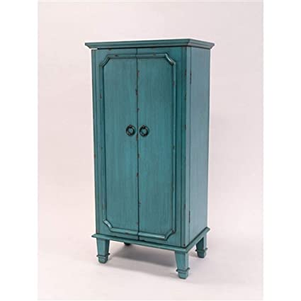 MyEasyShopping Vintage Turquoise Hand Painted Jewelry Armoire Antique  Drawer Pulls Wardrobe Closet Storage Wood Bedroom