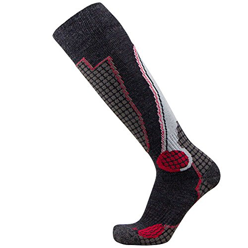 (Pure Athlete High Performance Wool Ski Socks – Outdoor Wool Skiing Socks, Snowboard Socks (Black/Grey/Red, Small))