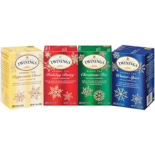 (Twinings of London Holiday Variety Tea Bag Pack, Peppermint Cheer, Holiday Berry, Christmas Tea, Winter Spice, 20 Count)