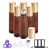 prettycare Essential Oil Roller Bottles 10ml ( Amber Glass, 6 Pack, 2 Extra Roller Balls, 12 Labels, Opener, Funnels by PrettyCare ) Roller Balls For Essential Oils, Roll on Bottles