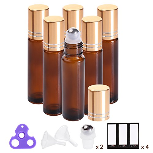 Essential Oil Roller Bottles 10ml ( Amber Glass, 6 Pack, 2 Extra Roller Balls, 12 Labels, Opener, Funnels by PrettyCare ) Roller Balls For Essential Oils, Roll on - Glasses To How Make Eye