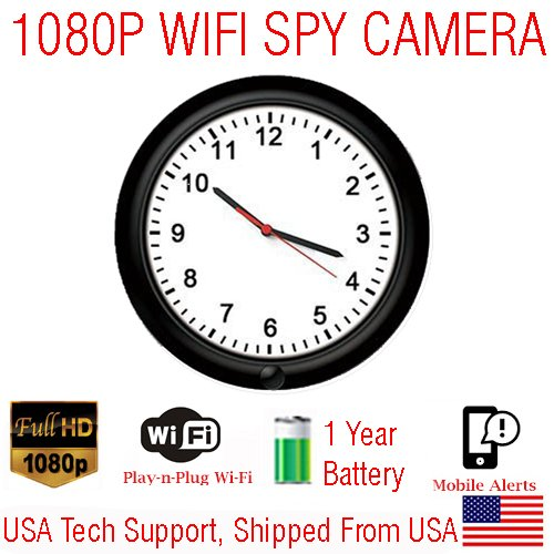 SecureGuard 720p HD WiFi Wireless IP Wall Clock Hidden Security Nanny Cam Spy Camera with 16GB Memory