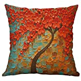 telaite Pillowcase,Cotton Linen Throw Pillow Case Oil Painting Square Home Decorative Cushion Cover for 40X40cm Pillow Inserts, 1 Pack Multicolor Trees(B)