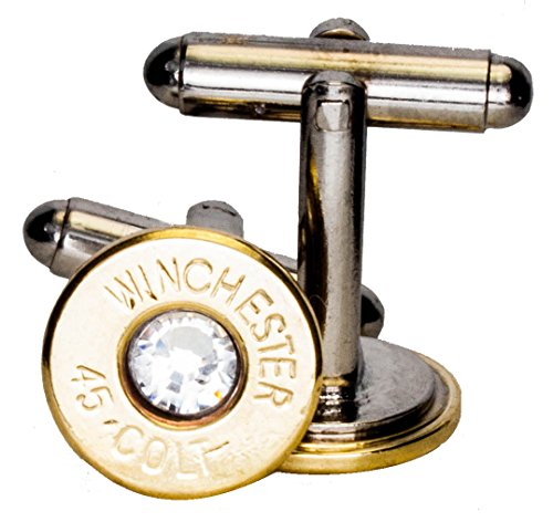 45 Colt Brass Cuff Links w/ Swarovski Crystals-Clear (Winchester) (Recycled Brass Bullet)