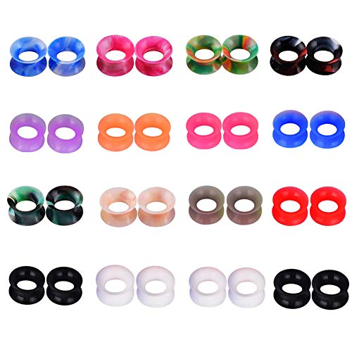 D&M Jewelry 16 Pairs Silicone Ear Gauge 2g Hollow Soft Ear Stretching Tunnels Piercing ()