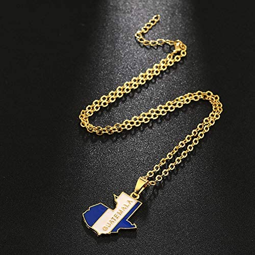 SWAOOS Guatemala Countries Map and Flag Pendant Necklace for Men//Women Gold Color Guatemalan Maps Ethnic Jewelry