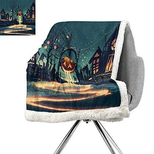 (Fantasy Art House Decor Light Thermal Blanket,Halloween Theme Night Pumpkin and Haunted House Ghost Town Artful,Teal Orange,Print Digital Printing Blanket W59xL78.7)