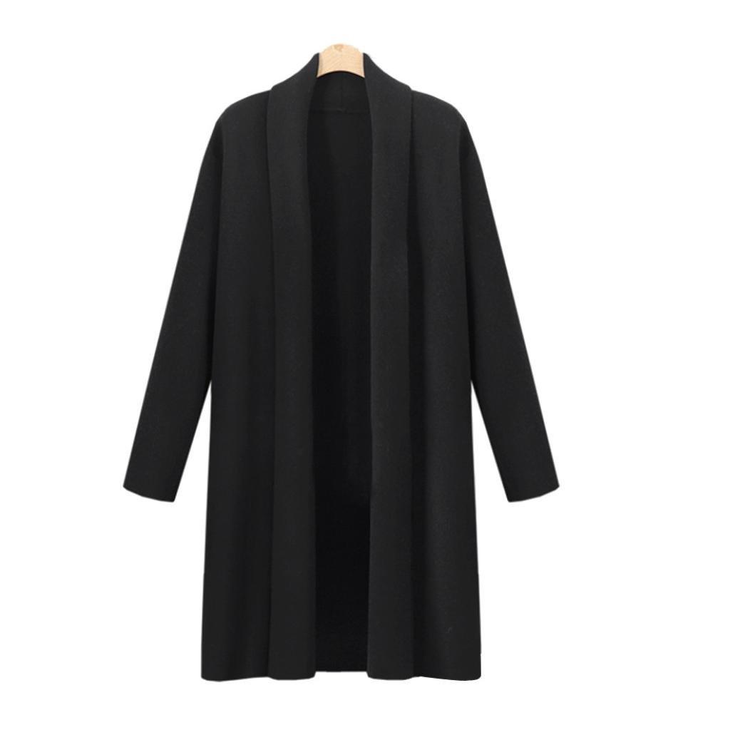 YANG-YI Clearance, Fashion Womens Open Front Trench Coat Long Cloak Jackets Waterfall Cardigan (Black, 3XL) by YANG-YI (Image #3)