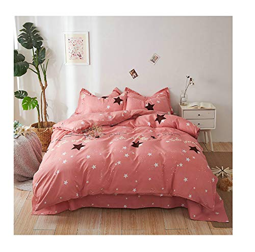 Gypsophila, Pink Queen 80 x90  KFZ Hydro Cotton Bed Set Full Queen King Bedding Set Duvet Cover (No Comforter) Flat Sheet Pillowcase MT1904 Unicorn Peppa Pig Princess Design Sheets Set (Unicorn Star, bluee, Full 70 x86 )