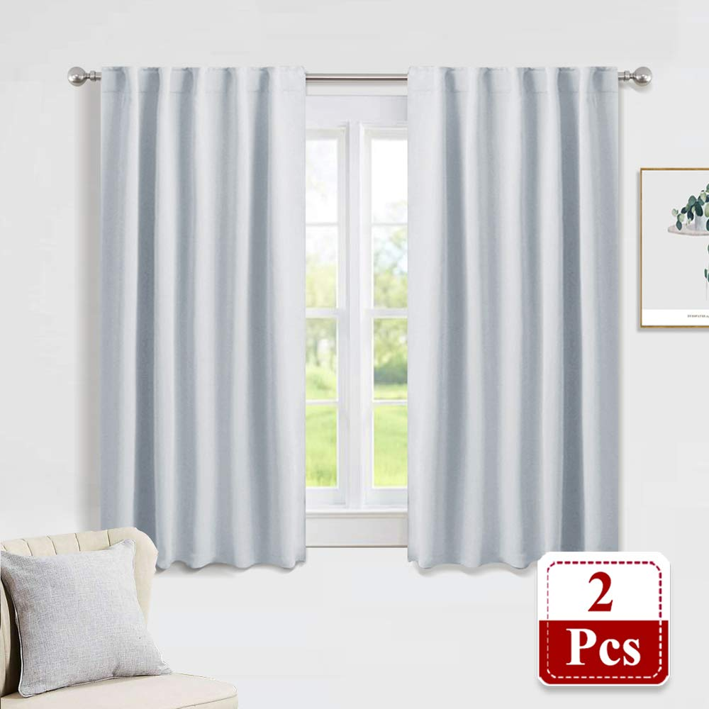 PONY DANCE White Curtain Panels - Kitchen Curtains Room Darkening Light Blocking Energy Saving Short Drapes/Bedroom with Back Tab Home Decor, 42 in Wide by 45 Long, Grayish White, 2 PCs