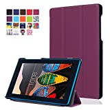 Gvirtue Lenovo Tab 3 Essential TB3-710F Case - [Smart Shell] Ultra Slim Light Weight Cover with Auto Sleep/Wake Feature for Lenovo Tab 3 Essential 7-Inch Android Tablet, 17.78 cm, Púrpura