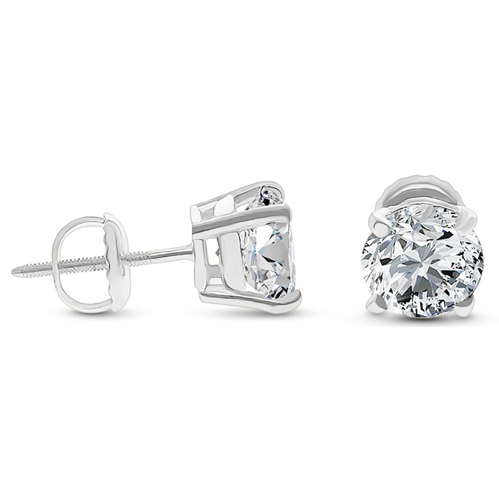 DTLA Solid 14k White Gold Stud Earrings with Round Cubic Zirconia Screw Back - 1.5 carats