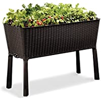 Keter Easy Grow Patio Garden Flower Plant Planter Raised Elevated Garden Bed (Espresso Brown)