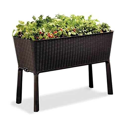 Hot Keter Easy Grow Patio Garden Flower Plant Planter Raised Elevated Garden Bed, Brown for sale