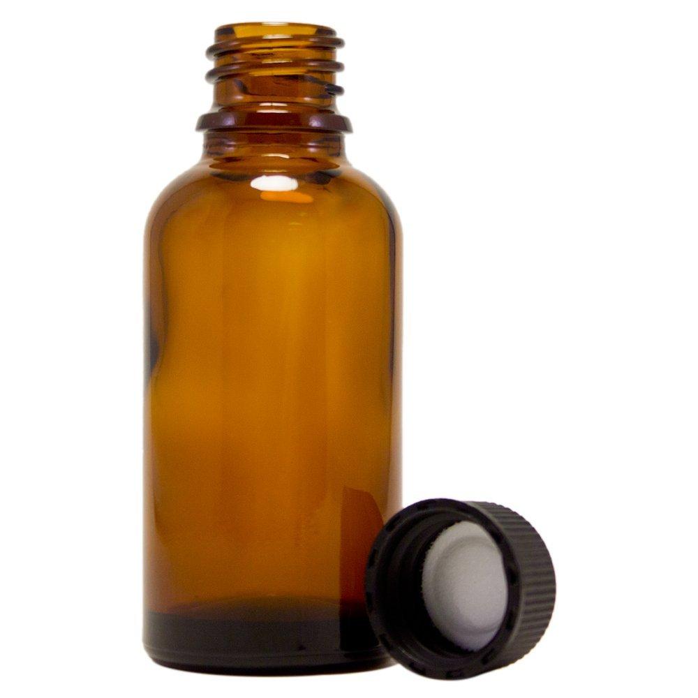 (Pack of 4) - 1oz Amber Glass Bottles for Essential Oils - Mini Boston Round Bottles with Lids - Black Plastic Cap