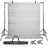 Emart Photo Video Studio 10Ft Adjustable Backdrop Stand Support System Kit, 5x10ft White Wood Floor Polyester Background Screen for Photography