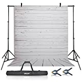 Emart Photography Studio Backdrop Background Kit, 10ft Adjustable Backdrop Stand Support System with 5x10ft Vinyl Plastic White Wood Floor Background Screen for Photo Video Shooting