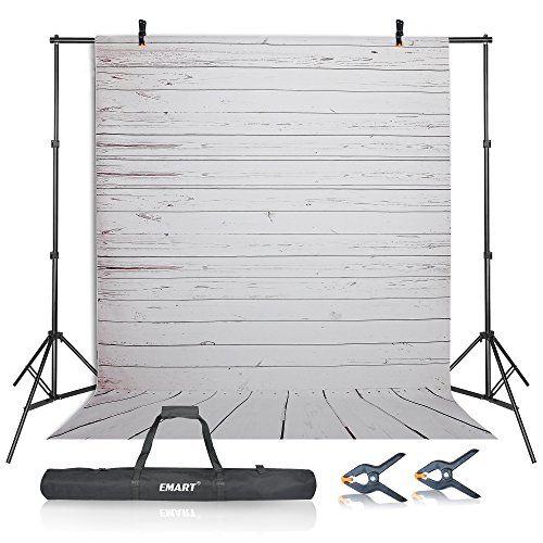 (Emart Photography Studio Backdrop Background Kit, 10ft Adjustable Backdrop Stand Support System with 5x10ft Vinyl Plastic White Wood Floor Background Screen for Photo Video Shooting)