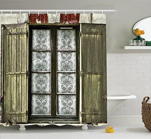 (Ambesonne Shutters Decor Collection, European French Window with Antique Open Shutter Print Vintage Style Home Decor, Polyester Fabric Bathroom Shower Curtain, 75 Inches Long, Brown White )