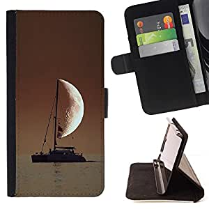 For LG G3 SAILOR IN THE SEA HALF MOON Beautiful Print Wallet Leather Case Cover With Credit Card Slots And Stand Function