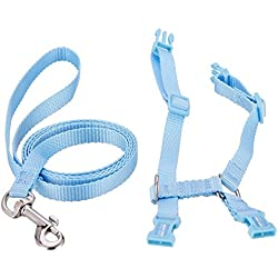 TEKEFT Adjustable Pet Rabbit Harness Leash Lead with Small Bell (Blue)