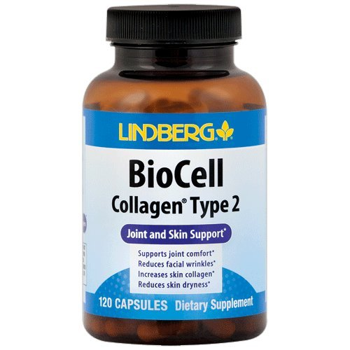 Lindberg BioCell Collagen Type 2, for Joint and Skin Support (120 Capsules) (120 600 Sulfate Mg Capsules)