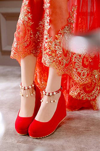 KHSKX Buckle Waterproof Wedding Red Bride'S Platform eight Shoe Mouth Heels 9Cm Slope Heel Single Shallow Thirty Word Drill Water qtRnBr8t